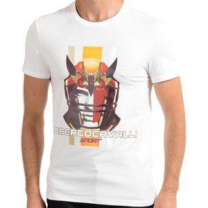 """Roberto Cavalli """"SPORT"""" Mens White Stretch T-Shirt"""